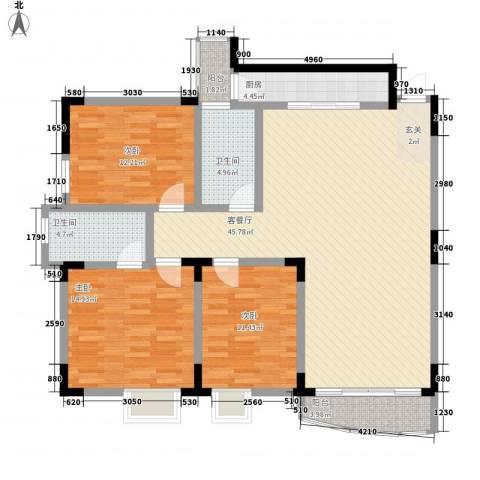 梧桐大厦3室1厅2卫1厨104.26㎡户型图