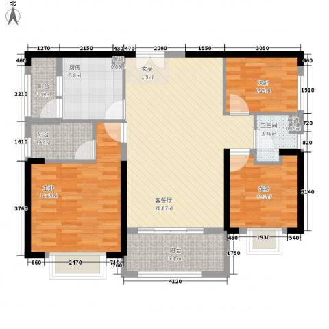锦绣银湾别墅3室1厅1卫1厨111.00㎡户型图