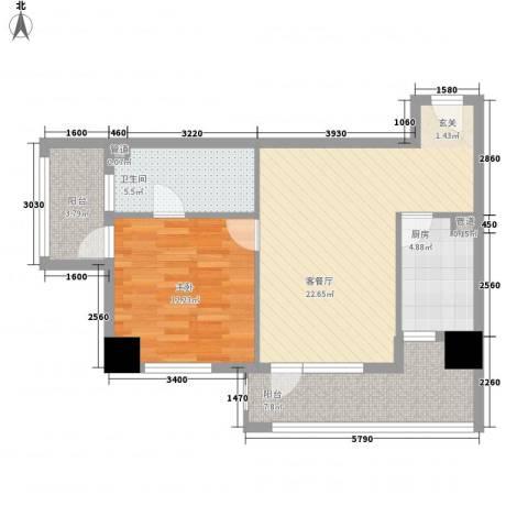 京城豪苑1室1厅1卫1厨83.00㎡户型图