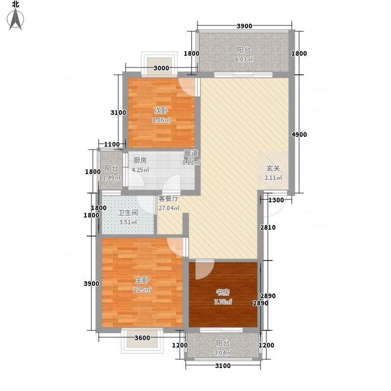 锦泰河畔81.85㎡一期B户型3室2厅1卫1厨