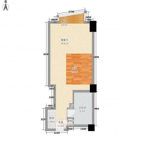 新华贸铂金公寓1厅1卫0厨60.00㎡户型图