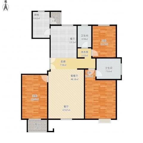 亿利城文澜雅筑3室1厅2卫1厨159.00㎡户型图