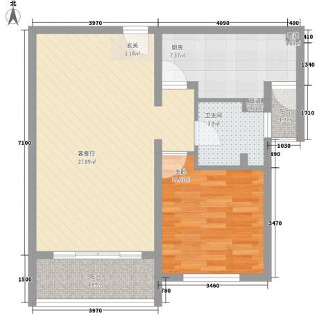 京城豪苑1室1厅1卫1厨64.80㎡户型图