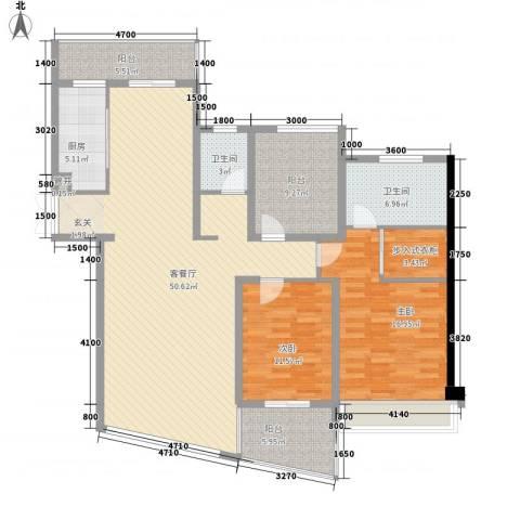 嘉诚花园2室1厅2卫1厨167.00㎡户型图