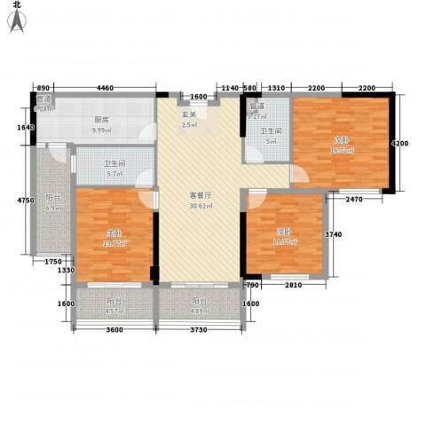 惠州雅居乐白鹭湖3室1厅2卫1厨156.00㎡户型图
