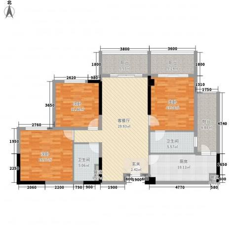 惠州雅居乐白鹭湖3室1厅2卫1厨159.00㎡户型图