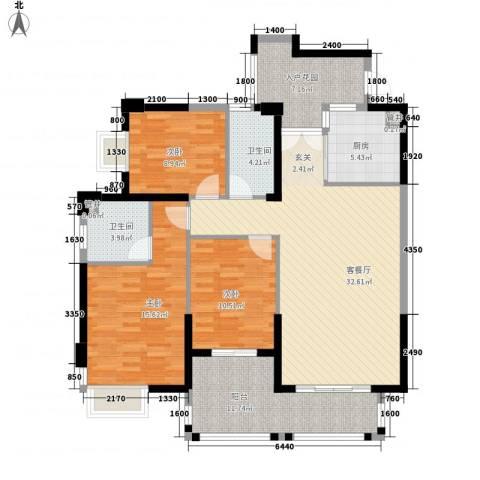 天湖大厦3室1厅2卫1厨143.00㎡户型图