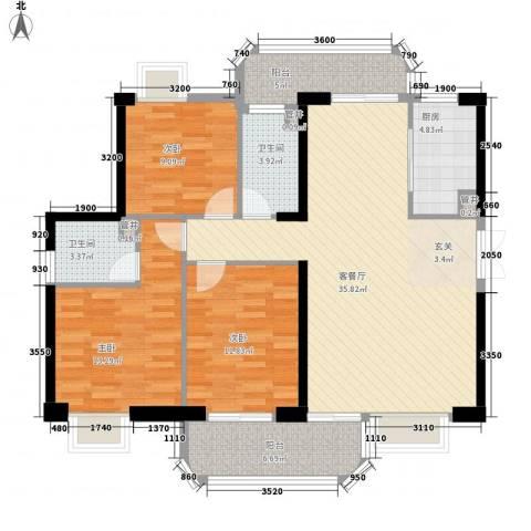 民盛花园3室1厅2卫1厨135.00㎡户型图