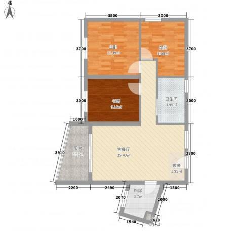 泉舜信宇花园3室1厅1卫1厨98.00㎡户型图