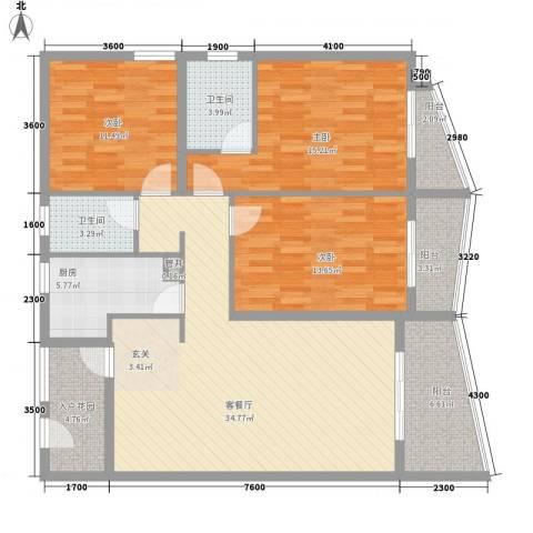 泉舜信宇花园3室1厅2卫1厨149.00㎡户型图