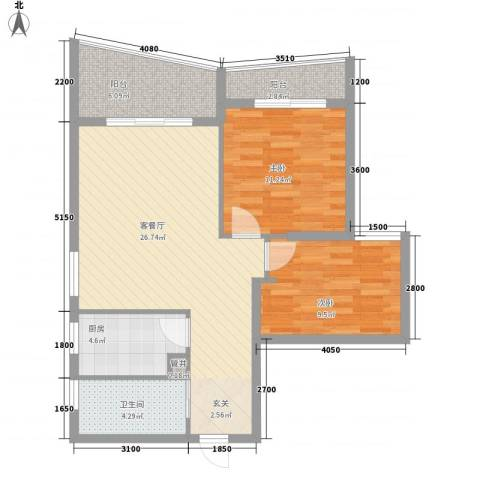 泉舜信宇花园2室1厅1卫1厨93.00㎡户型图