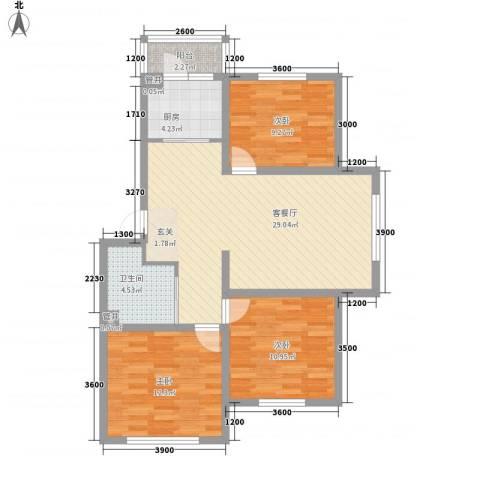外贸局单位宿舍3室1厅1卫1厨104.00㎡户型图