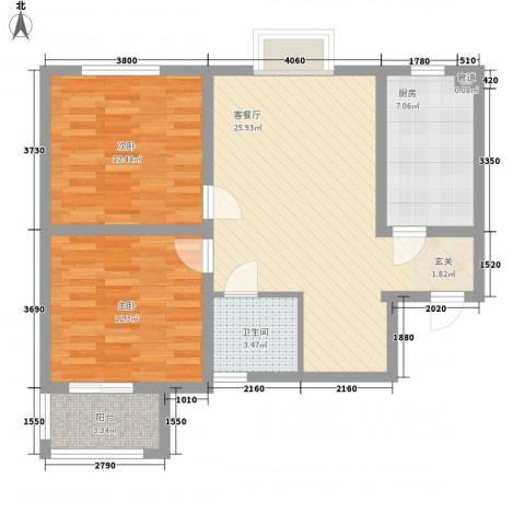 凤凰城2室1厅1卫1厨74.25㎡户型图