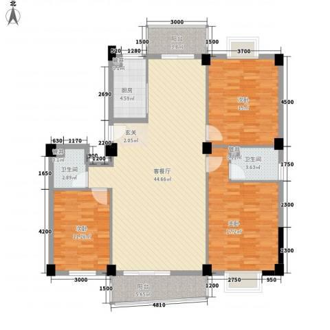 祥发荣寓杰座3室1厅2卫1厨146.00㎡户型图
