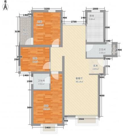 和通社区3室1厅2卫1厨122.00㎡户型图
