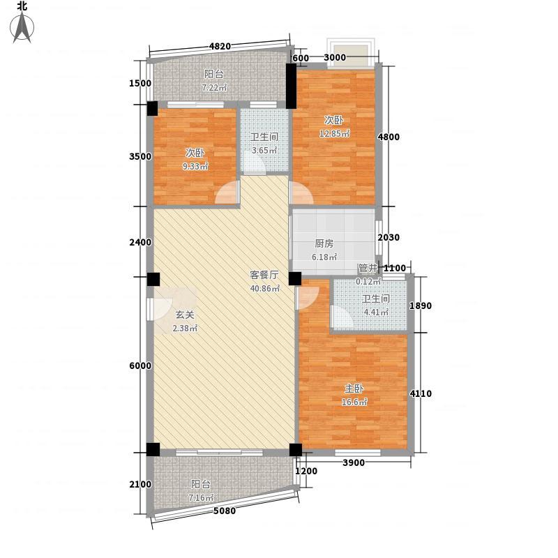 泉舜新旺府12.76㎡2#A梯标准层02户户型3室2厅2卫1厨