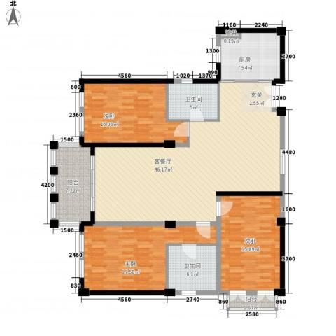 和通社区3室1厅2卫1厨172.00㎡户型图