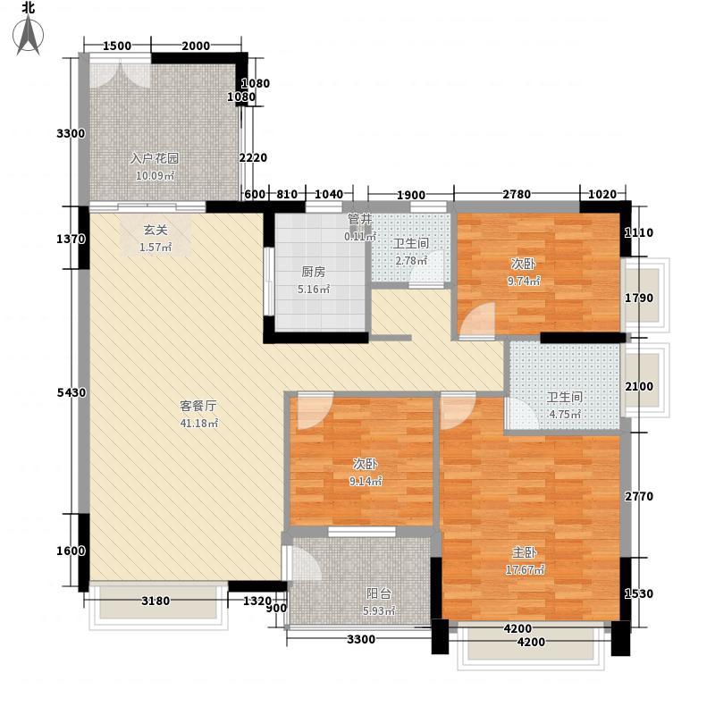 蓬江玉圭园13.00㎡C户型3室2厅2卫1厨