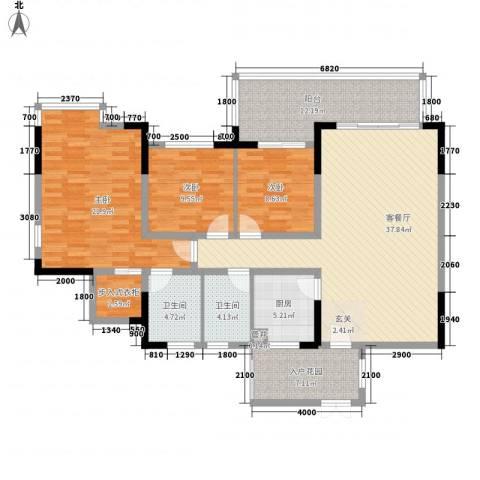 朗园3室1厅2卫1厨130.51㎡户型图