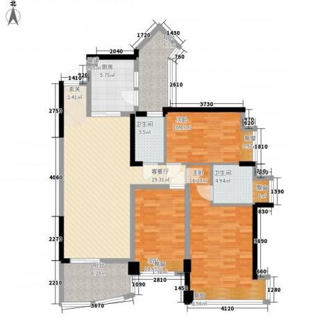 雅居乐国际花园3室1厅2卫1厨123.00㎡户型图