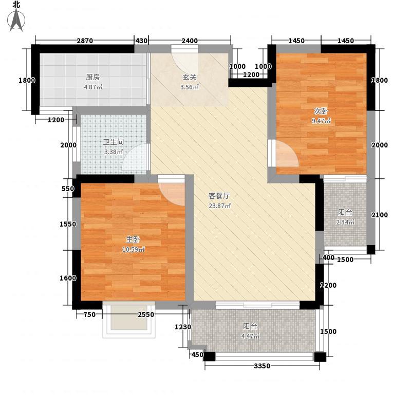 东方天韵83.61㎡三期G6户型2室2厅1卫1厨