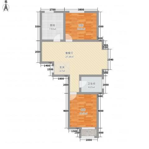 长峰尚海湾2室1厅1卫1厨90.00㎡户型图