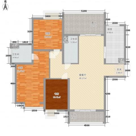 祈福湖滨花园3室1厅2卫1厨140.00㎡户型图