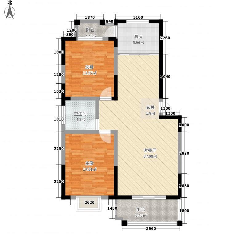 东方天韵114.26㎡三期G9户型2室2厅1卫1厨