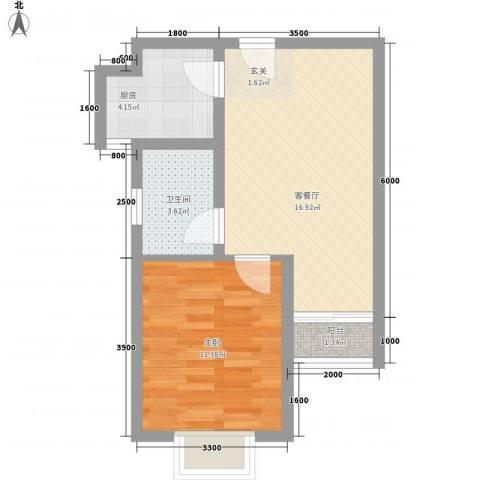 长峰尚海湾1室1厅1卫1厨55.00㎡户型图