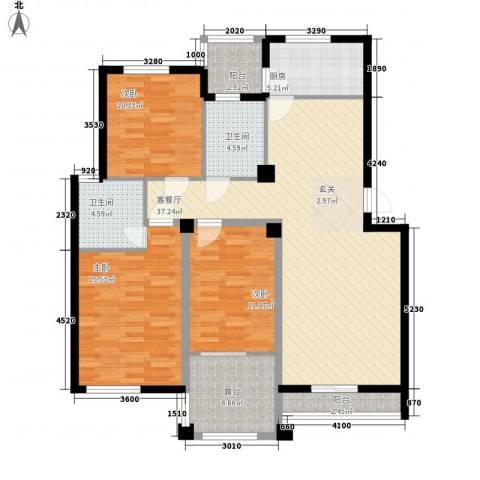 青林嘉园3室1厅2卫1厨124.00㎡户型图