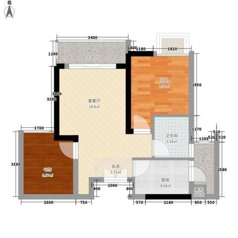 金色世纪逸城2室1厅1卫1厨45.00㎡户型图