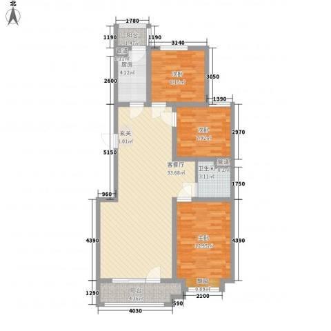 沈阳月星国际城3室1厅1卫1厨110.00㎡户型图