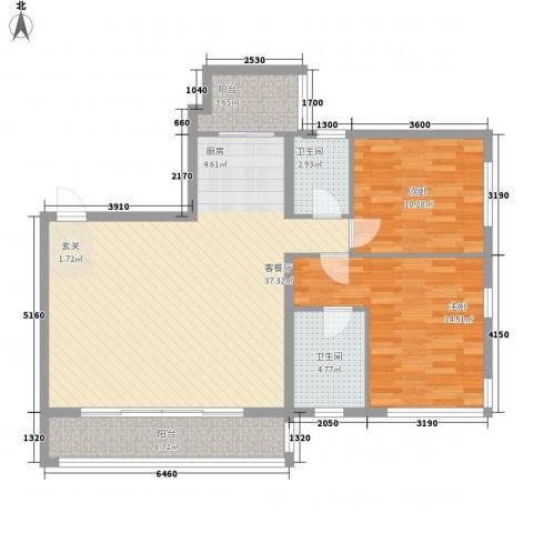 茂业豪园2室1厅2卫0厨90.40㎡户型图