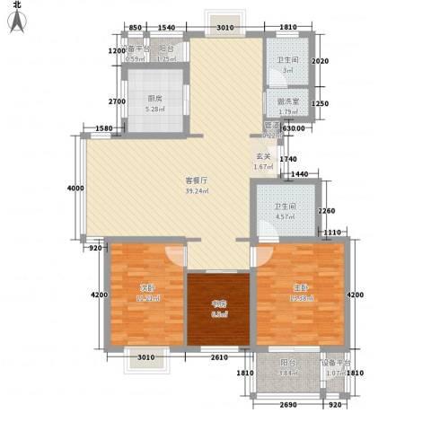 香颂3室2厅2卫1厨124.00㎡户型图