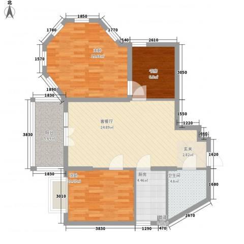 远大明珠3室1厅1卫1厨102.00㎡户型图