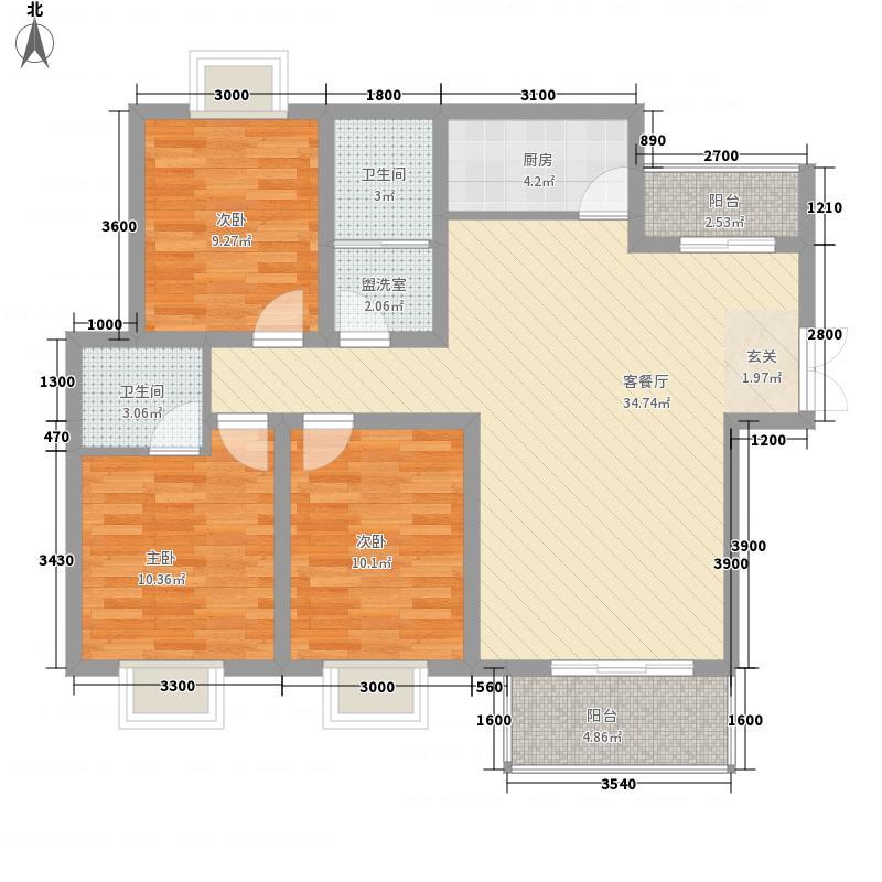 华宝豪庭11.42㎡B户型3室2厅2卫1厨