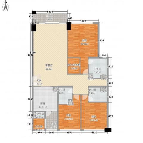 翠湖天地嘉苑3室1厅4卫1厨238.00㎡户型图