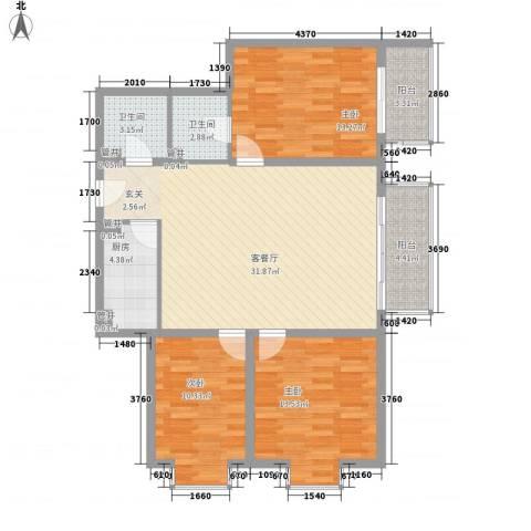 广丰花园3室1厅2卫1厨124.00㎡户型图