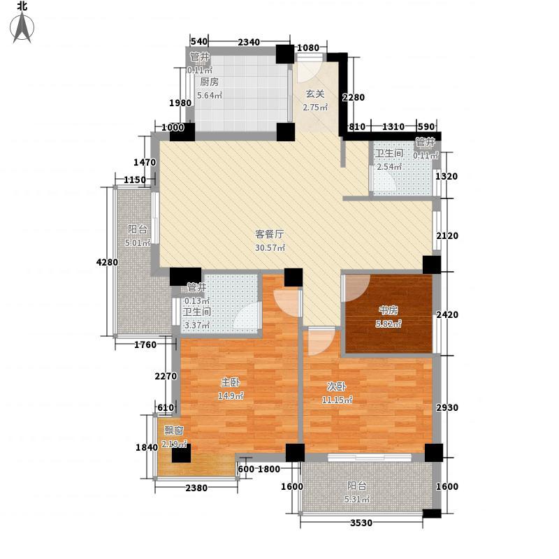 三迪香颂枫丹户型图4#F户型 3室2厅2卫1厨