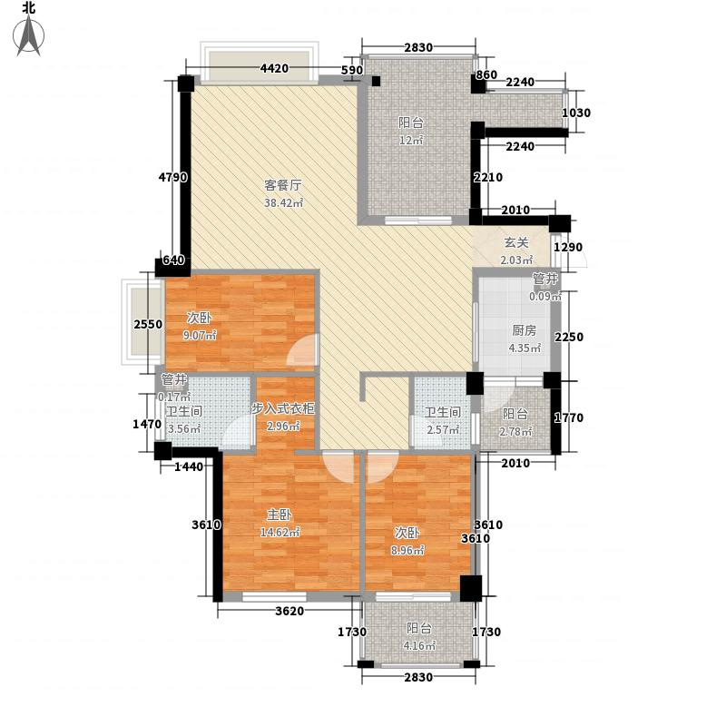 三迪香颂枫丹户型图5#D户型 3室2厅2卫1厨