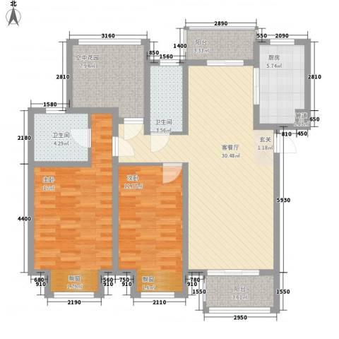 招商雍华府2室1厅2卫1厨130.00㎡户型图