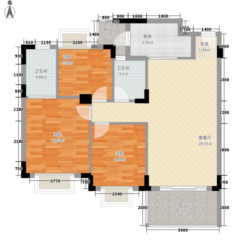 大信芊翠家园F户型3室2厅2卫1厨
