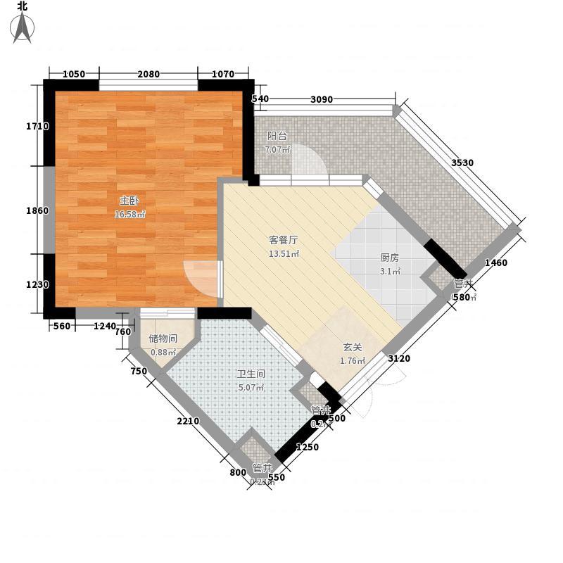绿城百合公寓60.59㎡绿城百合公寓户型图20061003-G户型1室1厅1卫1厨户型1室1厅1卫1厨