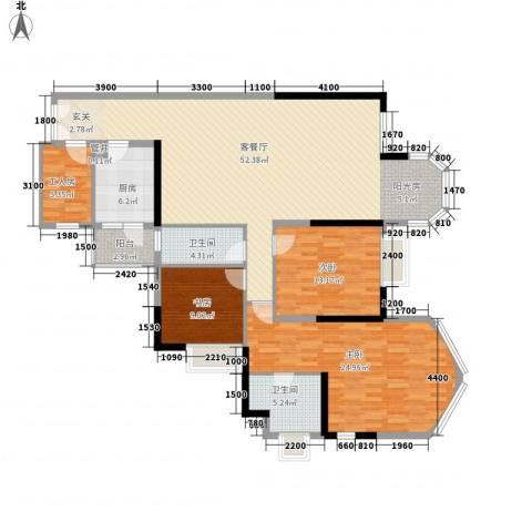 江畔华庭3室1厅2卫1厨136.00㎡户型图