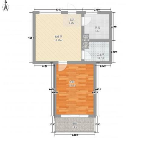 金润花园1室1厅1卫1厨58.00㎡户型图