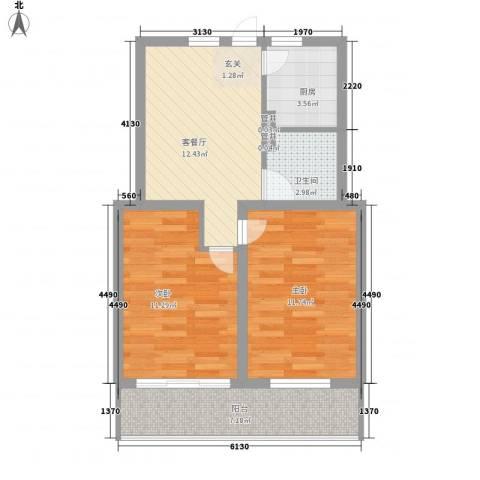 金润花园2室1厅1卫1厨72.00㎡户型图