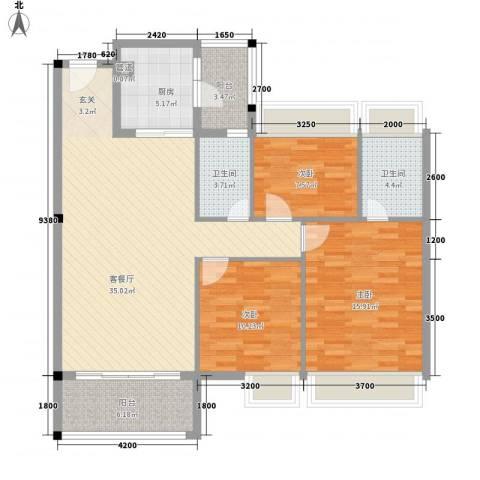 万领蓝珊郡3室1厅2卫1厨120.00㎡户型图