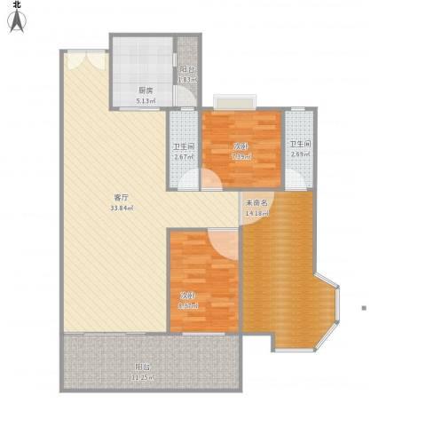 蓝湾半岛2室1厅2卫1厨118.00㎡户型图