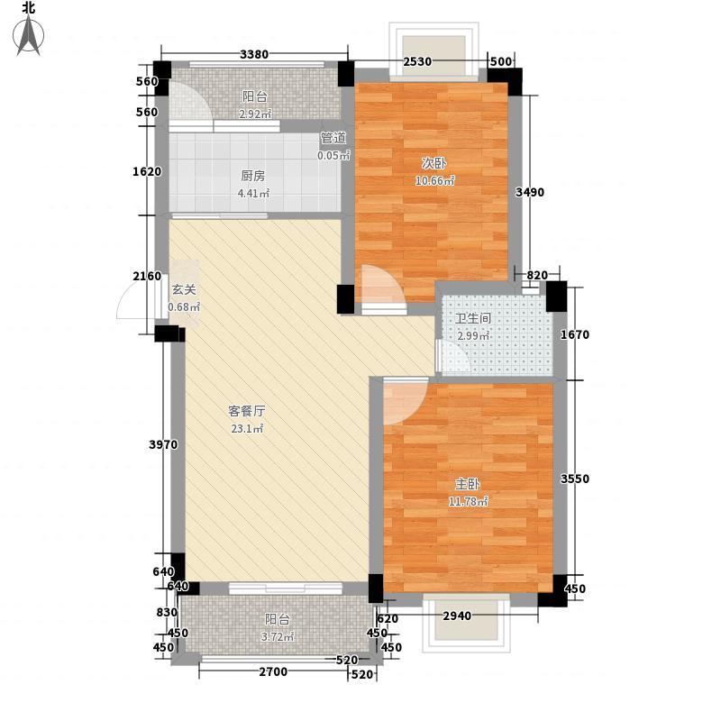 象湖明珠86.00㎡7#、9#精装多层C户型2室2厅1卫1厨