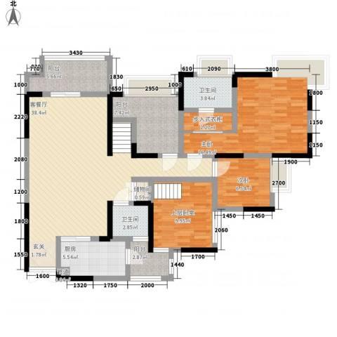 融汇温泉城锦华里2室1厅2卫1厨116.00㎡户型图